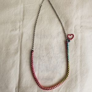 Neon-Threaded Chain Necklace w/Charms